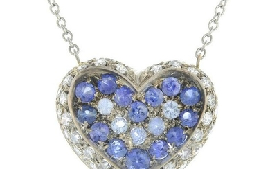 A sapphire and diamond pendant, suspended from an