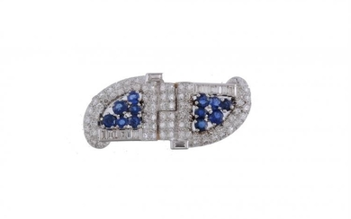 A sapphire and diamond plaque brooch