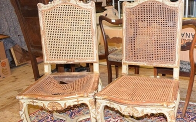 A set of five 19th century French painted dining chairs