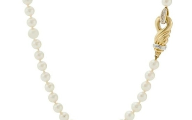 A cultured pearl necklace, with an 18ct gold clasp.