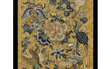 A small Chinese silk embroidered panel, 19th / early 20th ce...