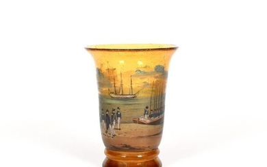 A soda glass vase 19th century, the amber...