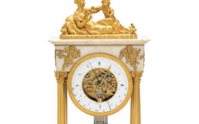 A very fine and rare early 19th century French ormolu mounted white marble, quarter chiming, centre seconds table regulator with full annual calendar