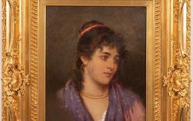"""ACHILLE PETROCELLI (ITALY, 1861-29), OIL ON CANVAS, H 20.5"""", W 14"""", YOUNG WOMAN"""