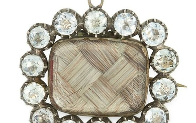 AN ANTIQUE PASTE AND HAIRWORK MOURNING BROOCH, 19TH