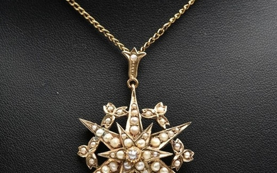 AN ANTIQUE SEED PEARL STAR BURST PENDANT (AUSTRALIAN HALLMARKS) TO A GOLD PLATED CHAIN