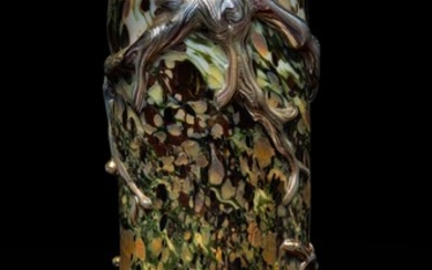 ATTRIBUTED TO TIFFANY STUDIOS | AN EARLY AND RARE DECORATED VASE