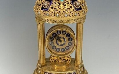AUSTRIAN STERLING SILVER AND ENAMEL MUSICAL CLOCK