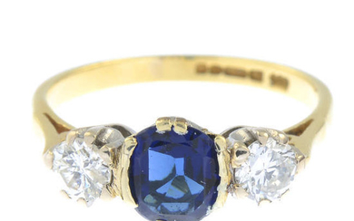 An 18ct gold blue paste and brilliant-cut diamond three-stone ring.