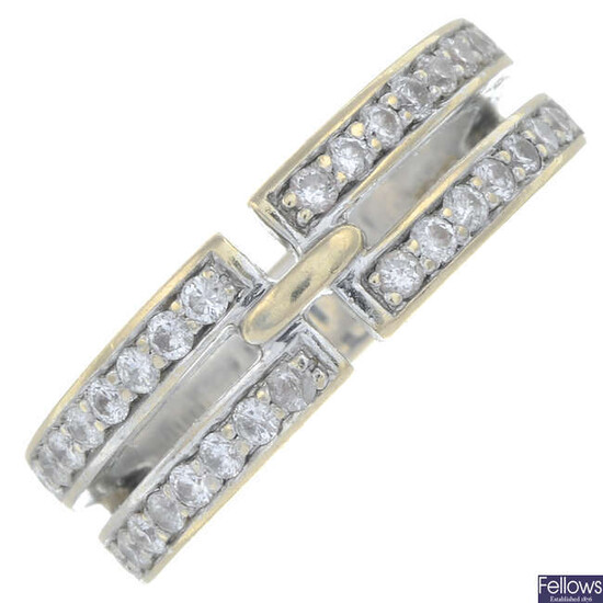 An 18ct gold brilliant-cut diamond two-row band ring.