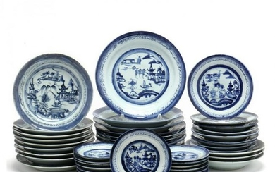 An Assortment of Chinese Export Canton Porcelain Plates