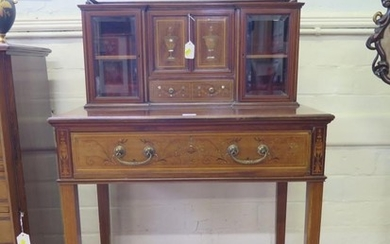 An Edwardian inlaid mahogany lady's secretaire, the top with...