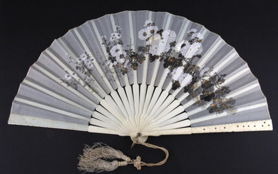 An early 20th century Chinese carved ivory mounted hand painted and embroidered silk fan, L. 21cm.