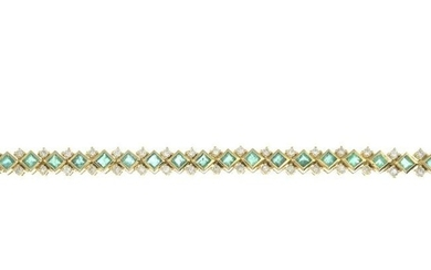 An emerald and diamond bracelet.Total emerald