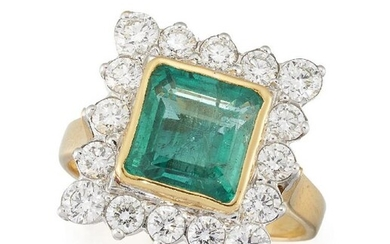 An emerald and diamond cluster ring, the...