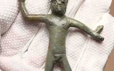 Ancient Roman Bronze Figurine of the Supreme God in their Religious Pantheon Zeus- the Thunderer in a Curious Style!