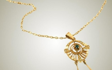 Antique 10k Gold, Seed Pearl & Sapphire in Tulip
