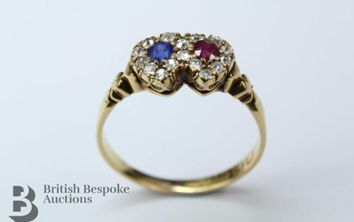 Antique 18ct yellow gold, ruby, sapphire and diamond ring,...