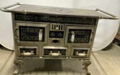 Antique Footed Victorian Cast Iron Porcelain Stove