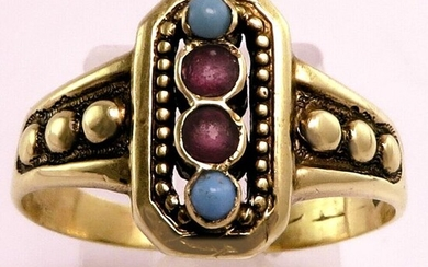 Antique Victorian Edwardian Crown Hallmarked - 14 kt. Gold - Ring Rubys, Turquoises