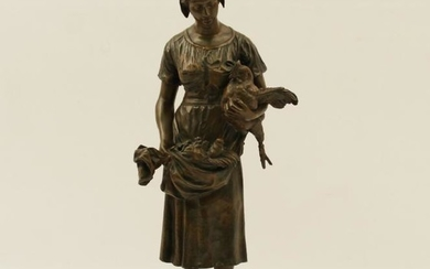 BARYE, SIGNED FRENCH BRONZE GIRL W/CHICKENS