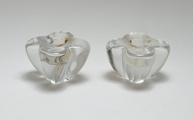 Baccarat Crystal Floral Form Candle Holders, Pr.