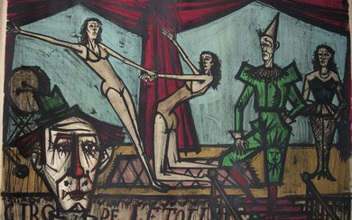 Bernard Buffet (French, 1928-1999) - La parade, from Mon Cirque, Hand Signed Lithograph, 1968.
