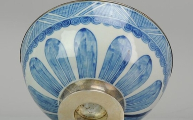 Bowl - Blue and white - Porcelain - Large Antique Chinese Porcelain China Bowl Flowers Silver Islamic - China - 17th century
