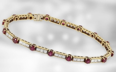 Bracelet: fine vintage ruby/diamond bracelet made of 18K...