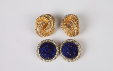 CHRISTIAN DIOR GOLD-TONE AND RHINESTONE CLIP EARRINGS WITH PAIR OF...
