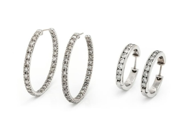 COLLECTION OF DIAMOND HOOP EARRINGS