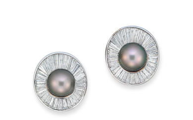 CULTURED PEARL AND DIAMOND EARRINGS, HARRY WINSTON,