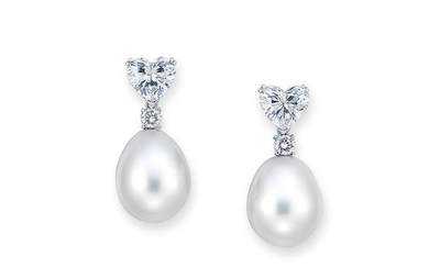 CULTURED PEARL AND DIAMOND EARRINGS,