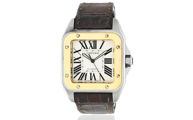 Cartier. A stainless steel and gold automatic wristwatch