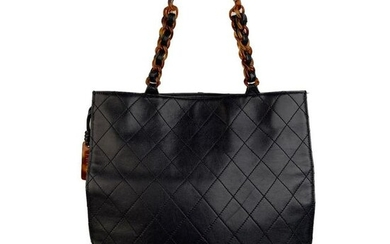 Chanel Vintage Blue Quilted Leather Tote Bag Shopper