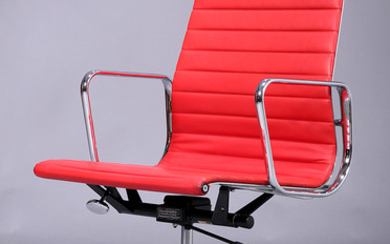 Charles Eames. Office chair, model EA-119, red leather