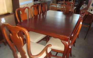 Cherry Wood American Dining Table with 8 Upholstered Dining ...