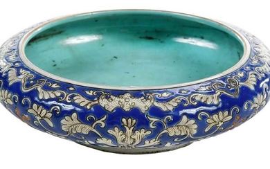 Chinese Blue Enamel Decorated Floral Bowl