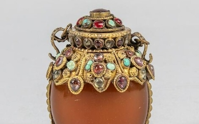 Chinese Emperor Type Amber Like & Brass Snuff Bottle