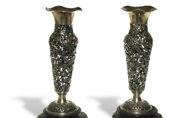Chinese Export Silver, 2 Cut-Out Vases