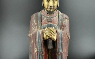 Chinese Figural Carved Wood Confucian Figure