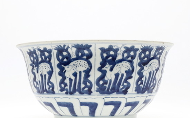 """Chinese Transition-style bowl in """"kraak"""" porcelain, probably mid 17th Century."""