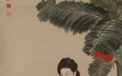 "Chinese scroll painting on paper - Rice paper - 《张大千-仕女》""Beauty"" Made after Zhang Daqian - China - Late 20th century"