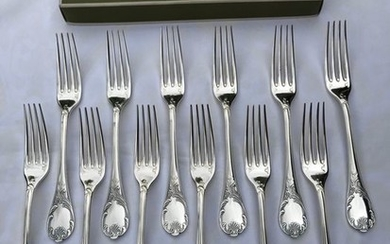 Christofle modèle Marly- Forks for dinner (12) - Silver plated