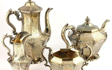 Coffee and tea service (4) - .925 silver - John Angell II & George Angell - London - England - Mid 19th century