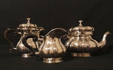 Coffee and tea service, Tea and coffee service punch littorio bundle-1934-1944 (3) - .800 silver - Italy - First half 20th century