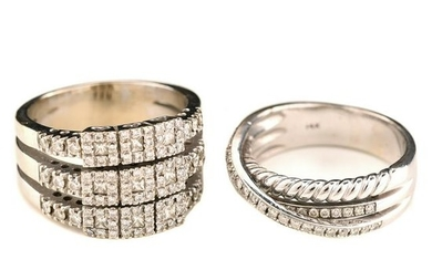 Collection of Two Diamond, 14k White Gold Rings.