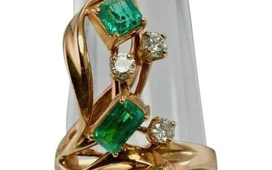 Colombian Emerald Diamond Ring Apco 14K Rose Pink Gold