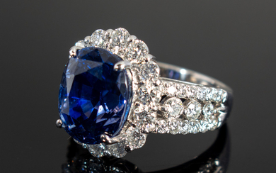 Color Change sapphire ring with diamonds