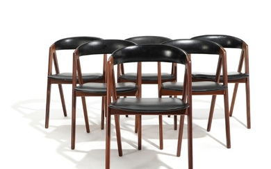 Danish furniture design: A set of six teak chairs, upholstered in seat and back with black artificial leather. 1960s. (6)
